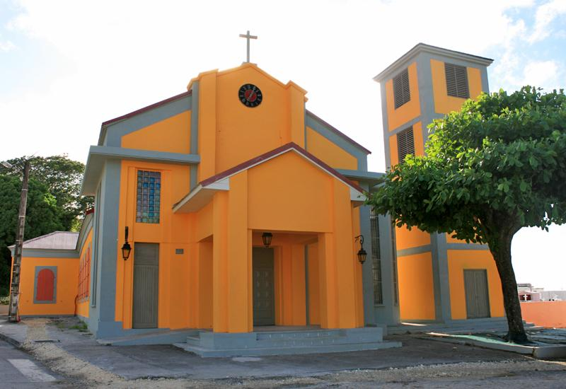 The church Saint-Denis d'Anse-Bertrand in Guadeloupe: facade