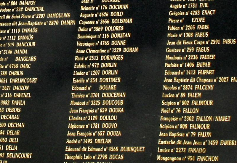 The names of slaves are listed
