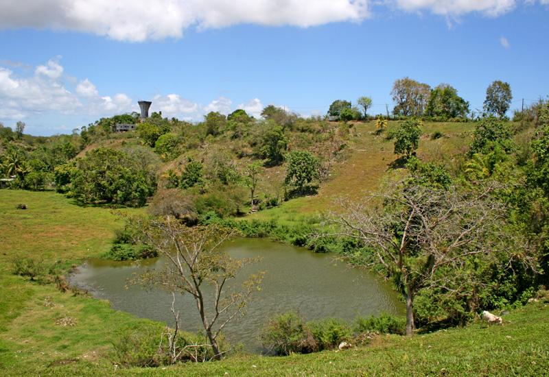 The Fidelin pond is located in a deep valley