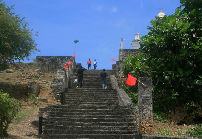 The Slave steps monument at Petit-Canal. 54 steps