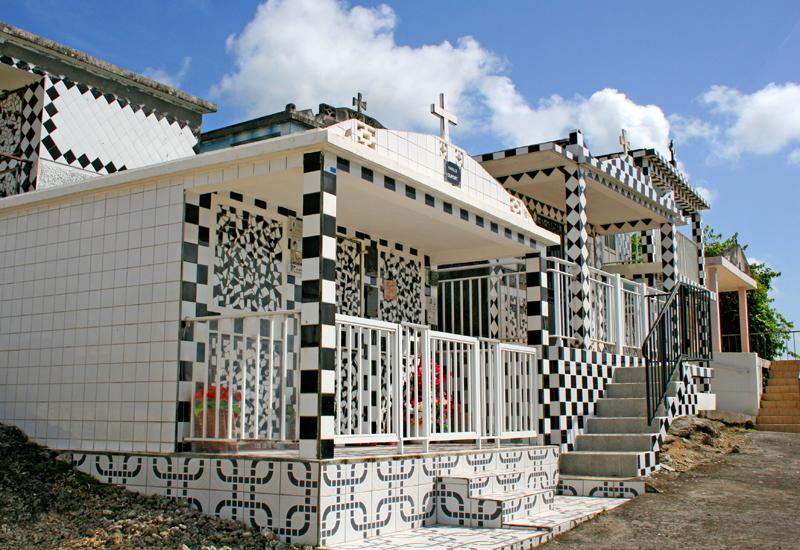 Guadeloupe. Morne-à-l'Eau, cemetery, checkered tiles of the tombs