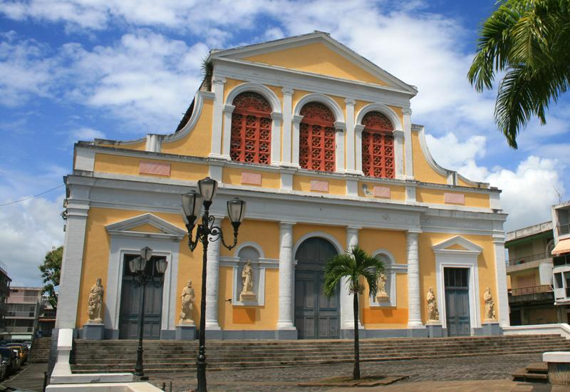 Pointe-à-Pitre, Guadeloupe. Church of St. Peter and St. Paul. Facade overlooking Gourbeyre Square