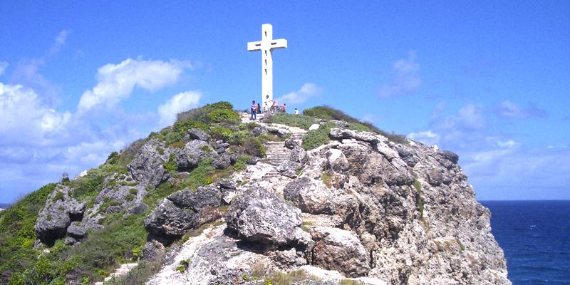 Cross of the Pointe des Châteaux - Saint-François. 10 m high