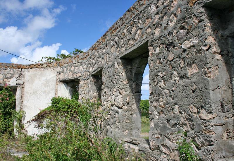Island of La Désirade. Old leprosarium, buildings abandoned since 1956