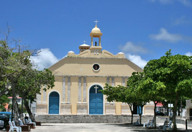 St. Anne Church - Capesterre de Marie-Galante, Guadeloupe: facade in the original style