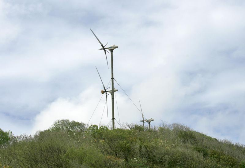 Wind power plants - Capesterre de Marie-Galante, Guadeloupe. Clean energy in full development on the island