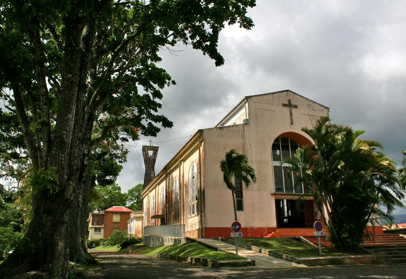 Guadeloupe, city of Petit-Bourg. Sainte-Thérèse de l'enfant Jésus Church. The bell tower, away, built in 1958