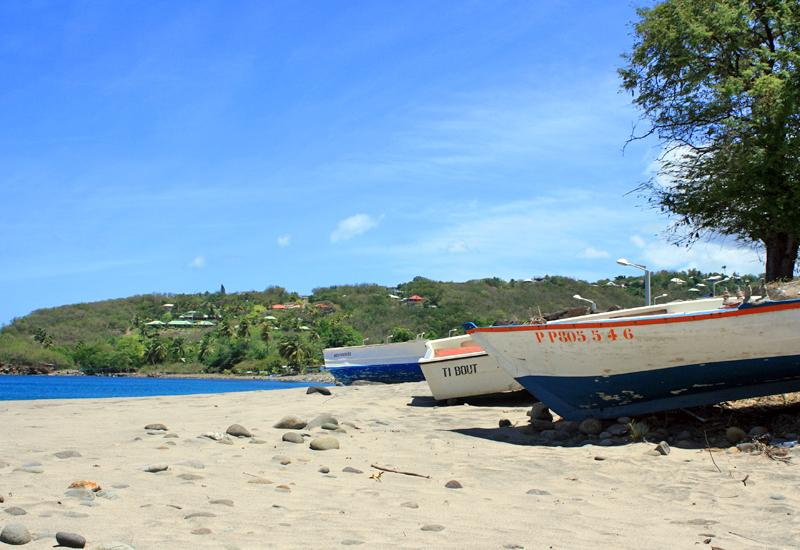 Anse Ferry, Deshaies, Guadeloupe. Fishing boats