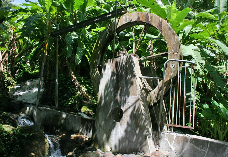 Guadeloupe, Gourbeyre city. Public pool of Dolé, the paddle wheel is still there