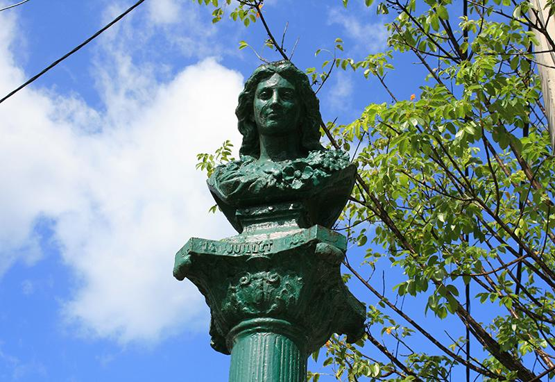 City of Bouillante, Guadeloupe. Bronze bust erected in 1889