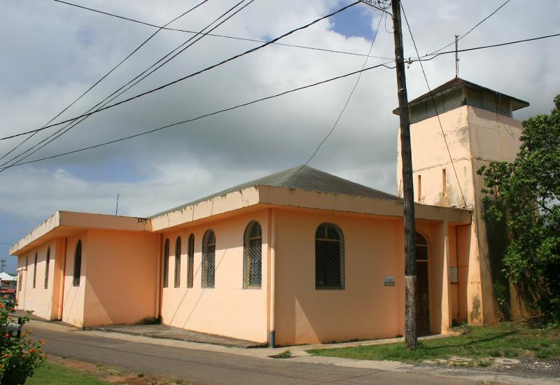 Guadeloupe. Church Sainte-Anne in the city of Goyave: a bedside angles