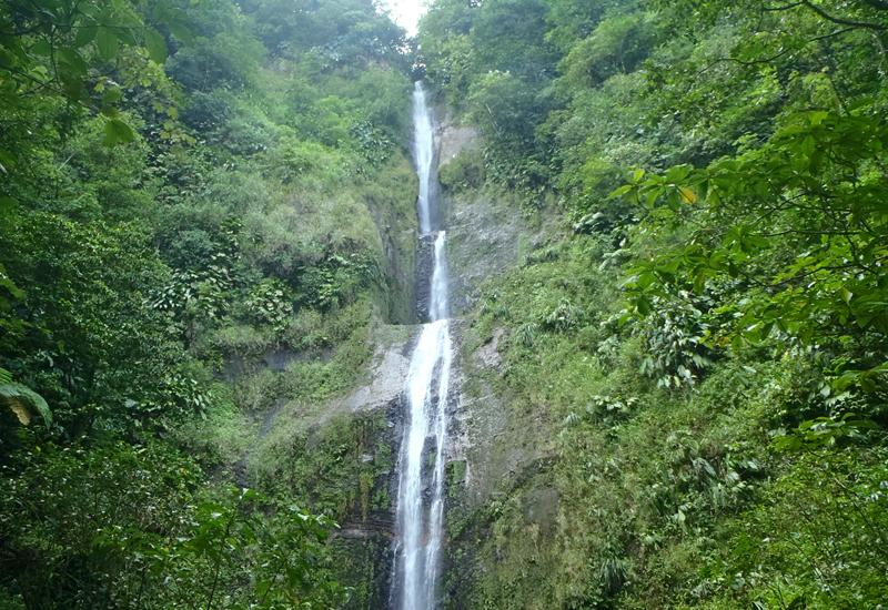 Moreau Falls - Goyave city, Guadeloupe. Several landings jumping into a large pool