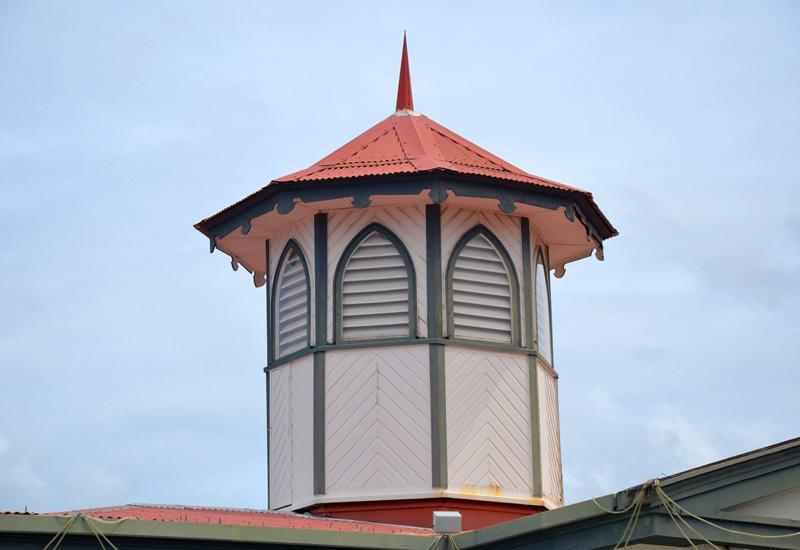 City of Basse-Terre. The amazing octagonal bell tower of the town hall