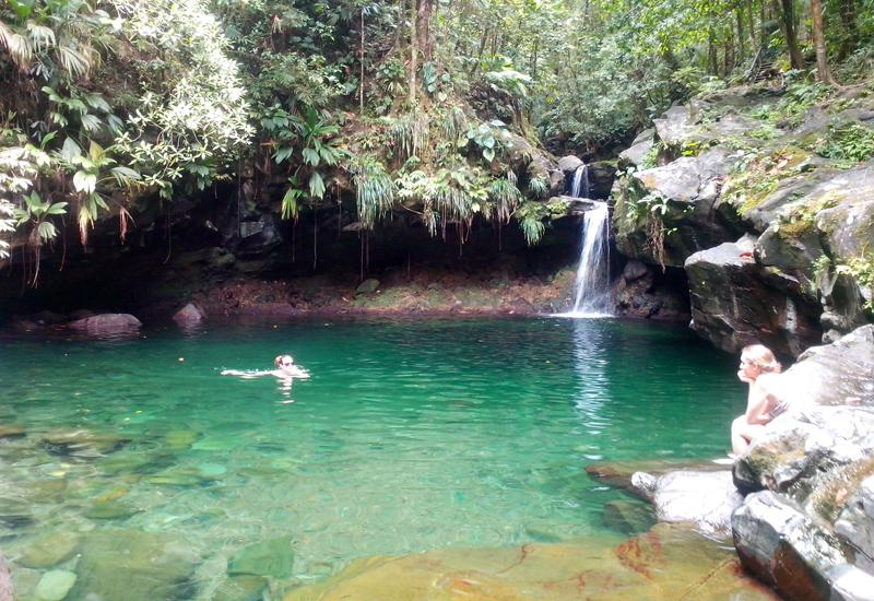 Bassin Paradis (Paradise pool). The waterfall flows into a beautiful pool