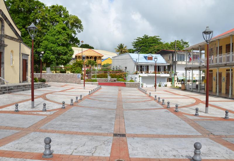 Old Town Hall of Saint-Claude, Guadeloupe. A recently renovated square
