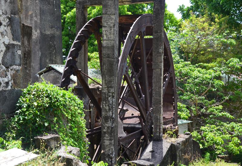 Distillery Desmarais - Saint-Claude. The old paddle wheel