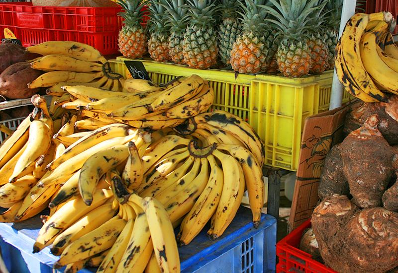 Plantain, pineapple and other local fruits