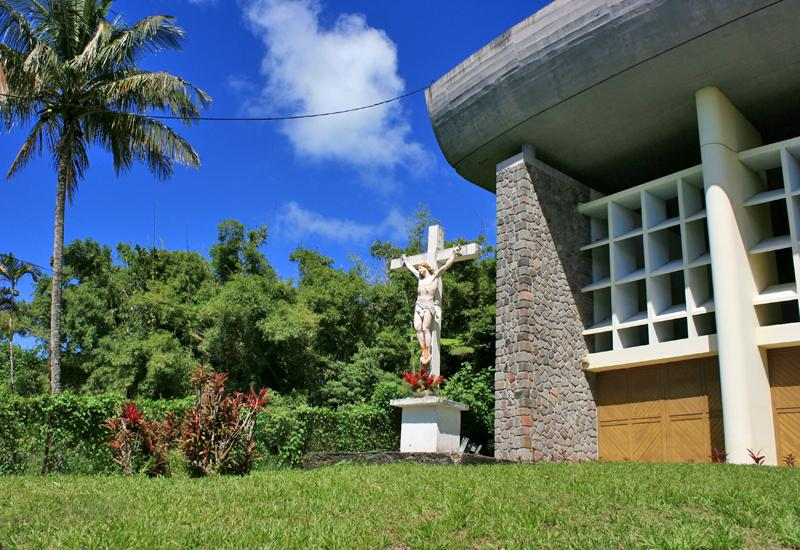 Chapel Notre Dame of Guadeloupe. Outside, the crucifix