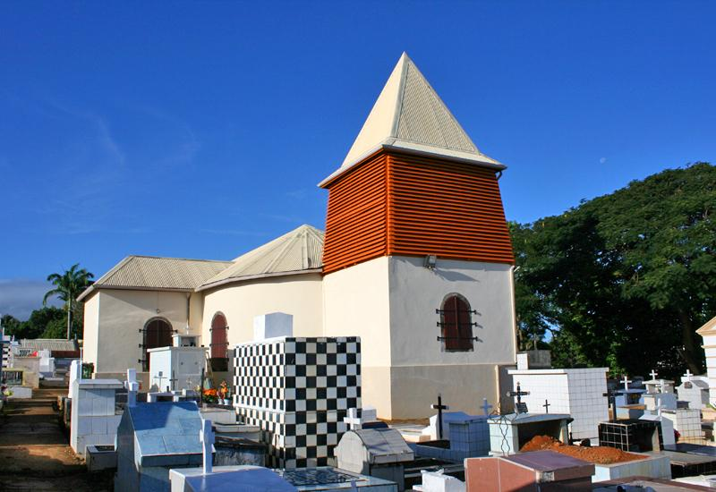 Town of Sainte-Rose, Guadeloupe. St. Rose of Lima Church, beautiful wooden steeple