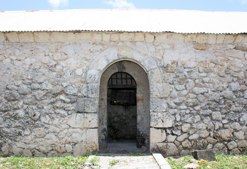 The arched stone door