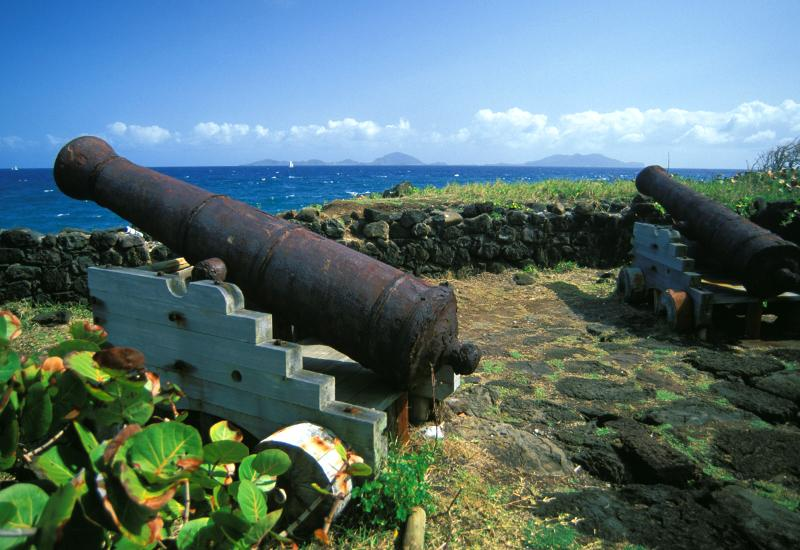 Guadeloupe. Trois-Rivières - Battery of the Grande Pointe, remains of an old military battery