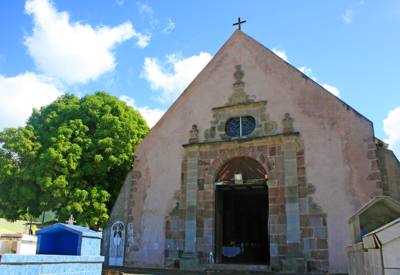 Guadeloupe, city of Vieux-Habitants, Saint-Joseph church. Porch in volcanic rock classified historical monument since 1975