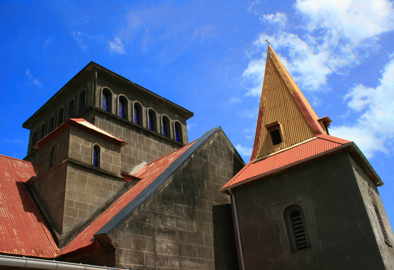 Guadeloupe, City of Vieux-Habitants, Saint-Joseph church. Transept and square bell tower